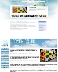Cryonics UK's new & old website screen shot